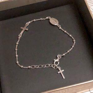 Jewelry - Italian 925 Sterling Silver Cross Rosary Bracelet